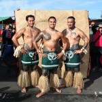 Courtesy of Yuki Kihara & Jochen Roller for 'Them and Us'  with Tatau Dance Group. Photo by Evotia Tamua. Location at Otara Markets  NZ